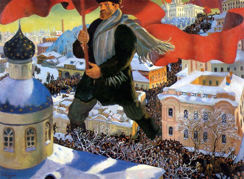 Der Bolschewik, Ölgemälde von Boris Kustodijew (1920)