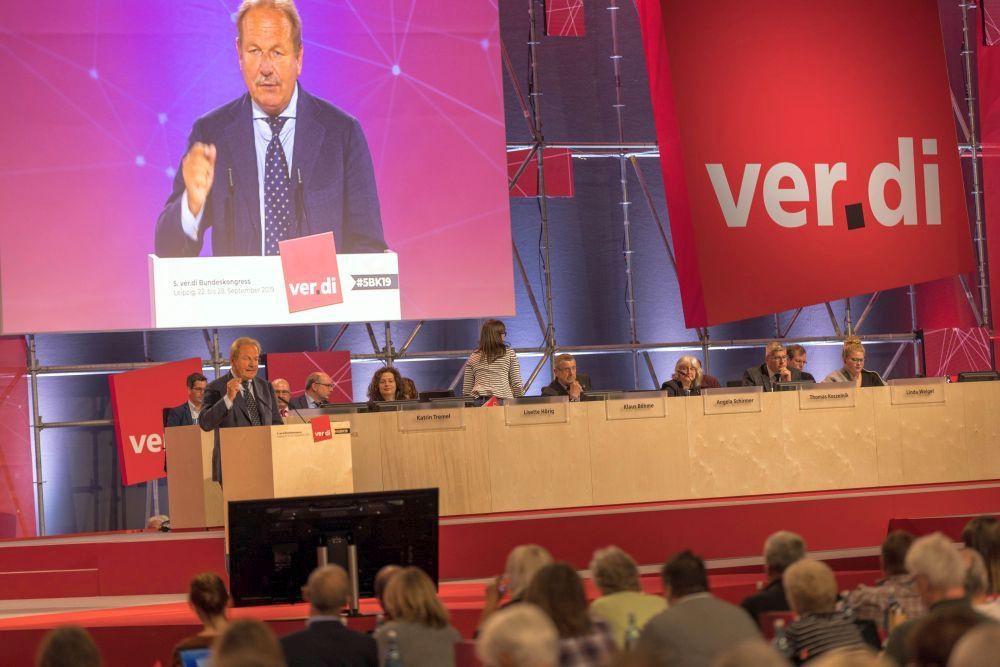 Während der Rede des scheidenden Vorsitzenden Frank Bsirske