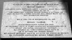 Plakette in Erinnerung an Michael Gaismair in Padua