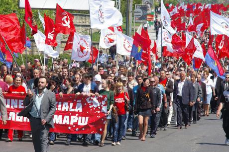 Von Revolution sprechen: Demonstration der moldawischen Kommunisten.