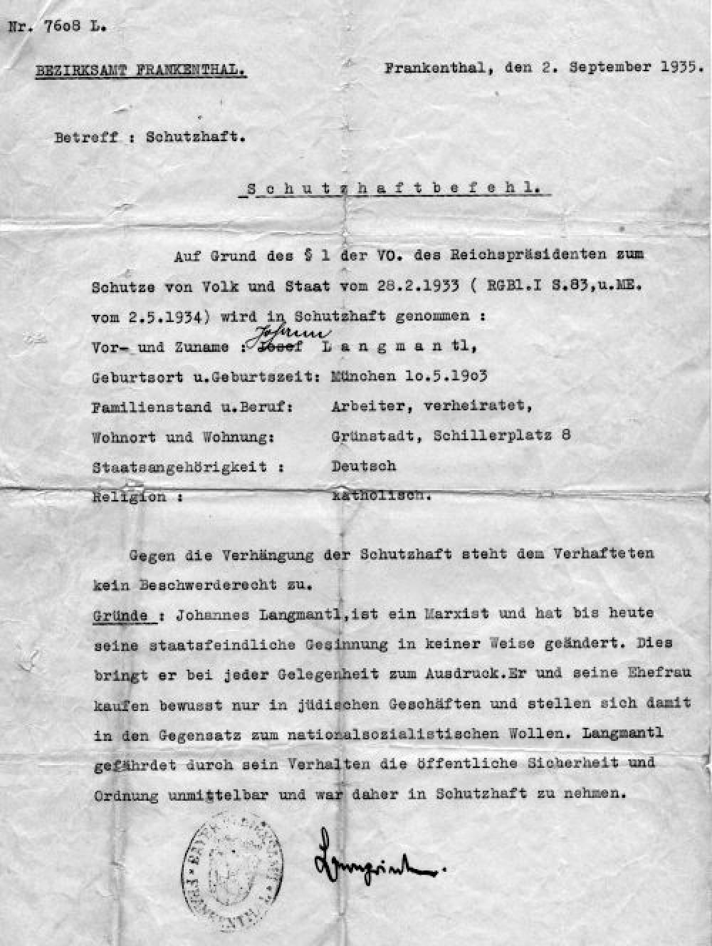 Schutzhaftbefehl im faschistischen Deutschland