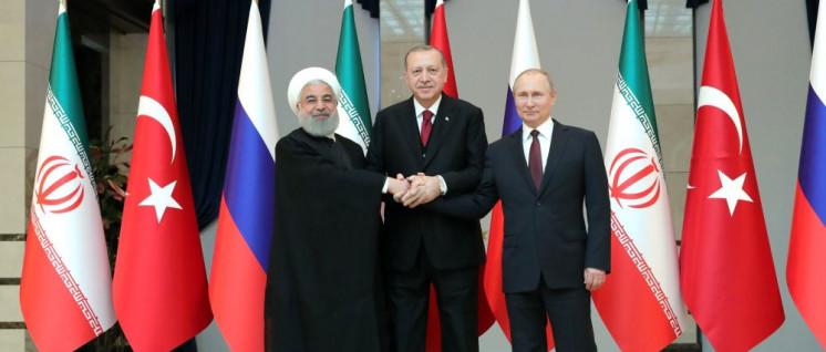 Trotz gemeinsamer Erklärung unterschiedliche Interessen in Syrien: Rohani, Erdogan und Putin. (Foto: kremlin.ru/press)