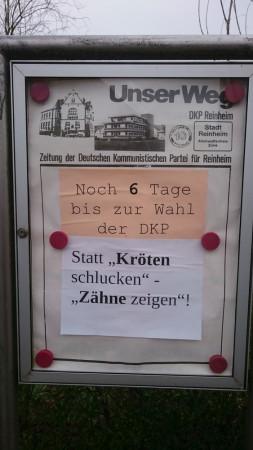 Wahl-Countdown im DKP-Schaukasten in Reinheim