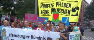 Aktion des Hamburger Pflegebündnisses am 9.Juli 2018 (Foto: pflegenotstand-hamburg.de)