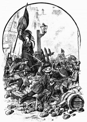 Gefecht bei Kirchheimbolanden am 14. Juni 1849; mit der Fahne Mathilde Hitzfeldt