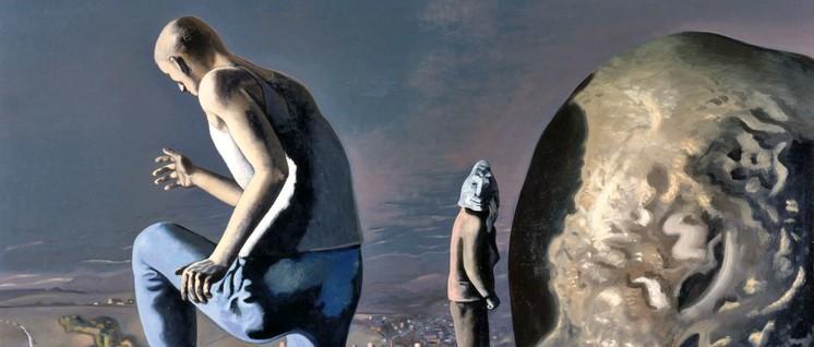 """Wolfgang Mattheuer """"Die Flucht des Sisyphos"""" (1972). Wir danken für die Abdruckgenehmigung."""
