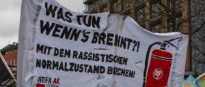 Demonstration gegen einen Anschlag am 2.1.2016 in Köln Mühlheim auf die Wohnung einer ausländischen Familie. (Foto: redpicture/Reiner Engels)