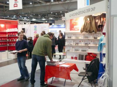 Stand der UZ auf der Leipziger Buchmesse