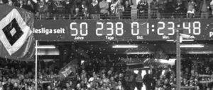 Nur der HSV war von Anfang an und durchgängig in der 1. Bundesliga. Die Uhr tickt weiter … (Foto: UZ)