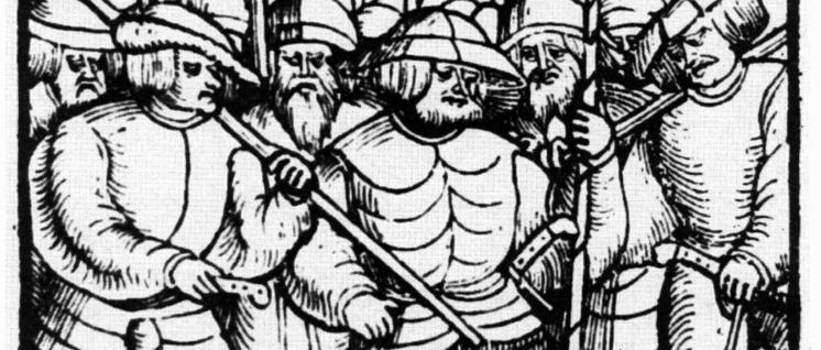 """Die """"Zwölf Artikel der aufständischen Bauern"""" stellten das Kampfprogramm des Bauernkrieges dar. Titelblatt einer der zahlreichen Ausgaben aus dem Jahr 1525."""