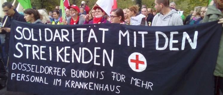 Die Streikenden erhielten am 25.Oktober solidarische Unterstützung. (Foto: Schedlbauer)