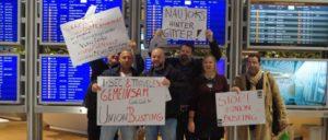 Proteste am 6. Dezember gegen Union Busting am Frankfurter Flughafen, Terminal 1 (Foto: Jessica Reisner, aktion./.arbeitsunrecht)
