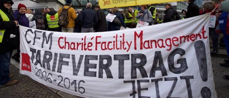 Streik bei Vivantes und Charité Facility Management (Foto: Gabriele Senft)