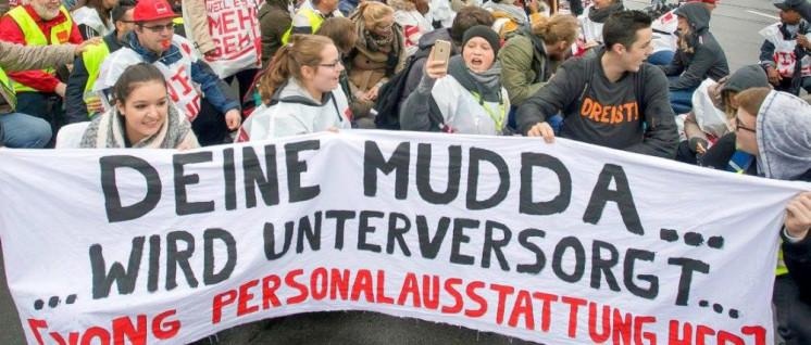 Lassen sich nicht erpressen: Klinikbelegschaften streiken für mehr Personal.  (Foto: Düsseldorfer Bündnis für mehr Personal im Krankenhaus via facebook)
