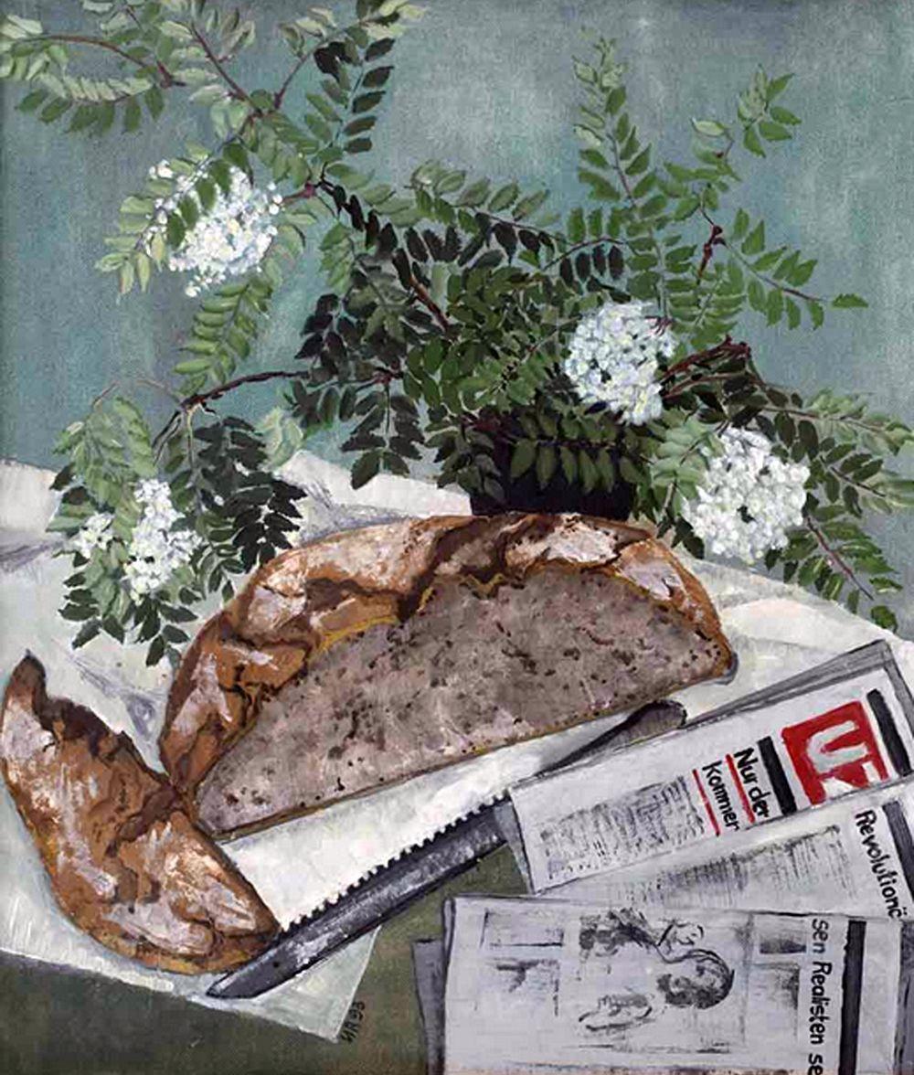 Brot mit UZ, 1993, 50 x 60 cm, Harzöl auf Leinwand