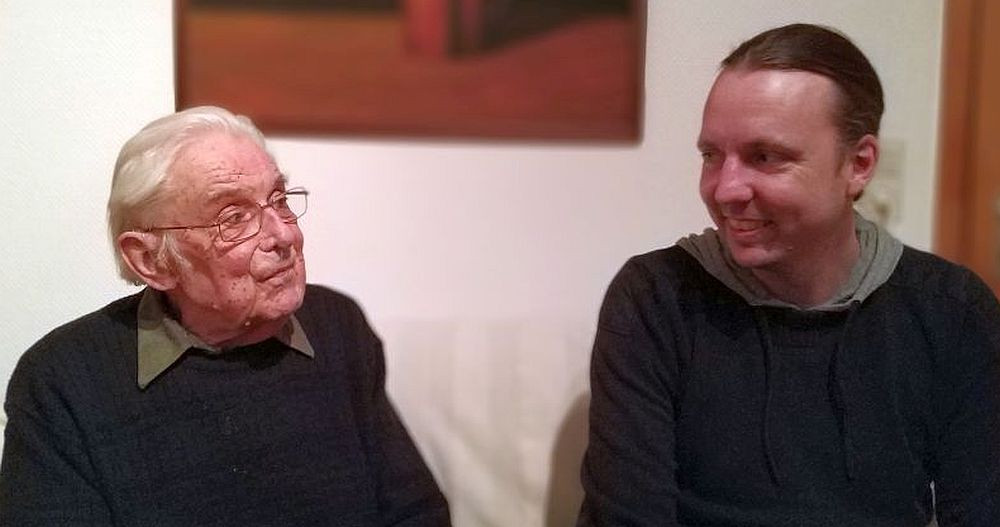 Zwei UZ-Chefredakteure im Gespräch: Georg Polikeit und der aktuelle Chefredakteur Lars Mörking