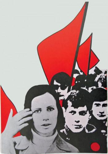 Mit der legalen Partei war es möglich, in den Massenbewegungen junge Menschen an die kommunistischen Ideen heranzuführen: Plakat zur Bezirkskonferenz der DKP Rheinland-Westfalen am 4.Mai 1969 (Ausschnitt).