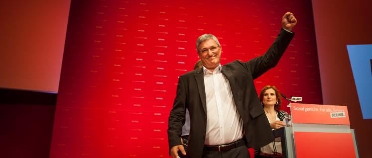 """""""Ist das nicht zu radikal?"""" Der alte und neue Linkspartei-Vorsitzende Bernd Riexinger nach seiner Rede auf dem Magdeburger Parteitag. (Foto: Partei Die Linke)"""