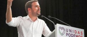 """Mit großer Geste und einem Herzchen als Logo warb Izquierda-Unida-Chef Alberto Garzón um Stimmen für das Linksbündnis """"Unidas Podemos"""". (Foto: Izquierda Unida)"""