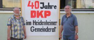 Der DKP-Kreisvorsitzenden Wilhelm Benz (links) und DKP-Stadtrat Reinhard Püschel (rechts).