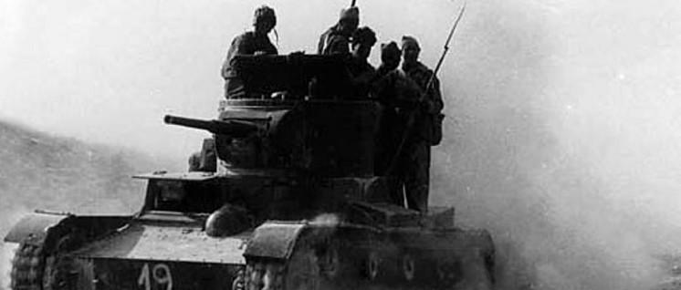 Interbrigadisten der XI. Internationalen Brigade aufseiten der Spanischen Republik während der Schlacht von Belchite (1937). (Foto: Michail Kolzow / public domain)