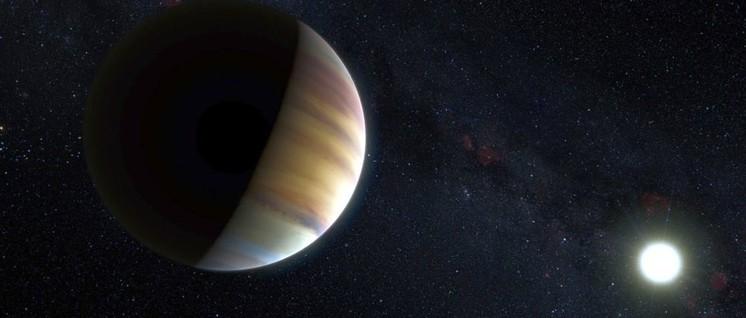 Die künstlerische Darstellung zeigt den Exoplaneten Jupiter 51 Pegasi b, der einen über 50 Lichtjahre entfernten Stern umkreist. (Foto: ESO/M. Kornmesser/Nick Risinger / Lizenz: CC BY 4.0)