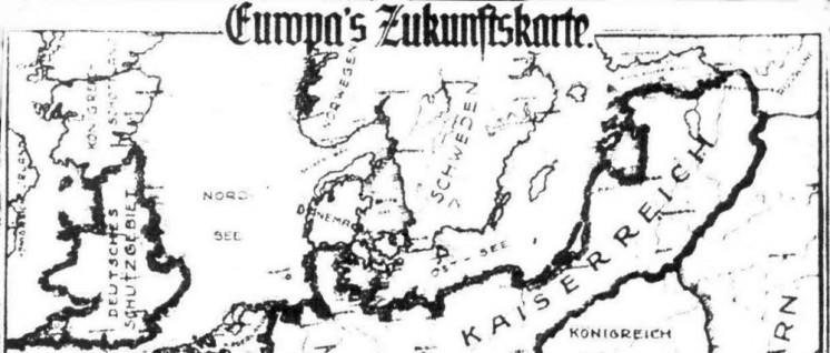 """Der Appetit der deutschen Bourgeoisie war und ist ungeheuer. So stellte sich der einflussreiche """"Alldeutsche Verband"""" nach einem Sieg im 1. Weltkrieg die Landkarte Mitteleuropas vor. (Foto: UZ-Archiv)"""