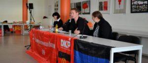 Stanislaw Retinskij (Mitte) von der KP der Donezker Volksrepublik trat auf Einladung der DKP in Berlin und Hannover auf.