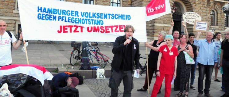 In Hamburg initiiert ein Bündnis einen Volksentscheid zur Verbesserung der Personalsituation in der Pflege. (Foto: Hamburger Bündnis für mehr Personal im Krankenhaus)