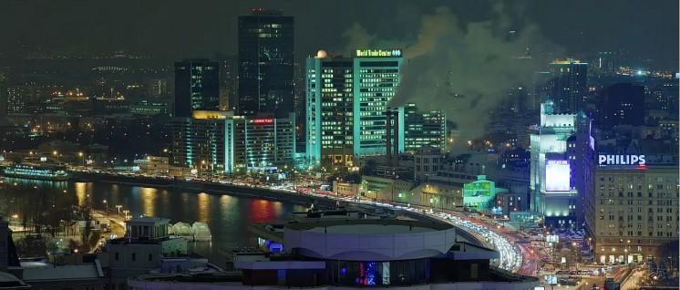 """Lebhaftes kapitalistisches Treiben: Geschäftsviertel im Moskauer Presnenski-Distrikt mit lokalem """"World Trade Center"""" (Foto: [url=https://de.wikipedia.org/wiki/Datei:WTC-Moscow.jpg]Wecameasromans[/url]r)"""