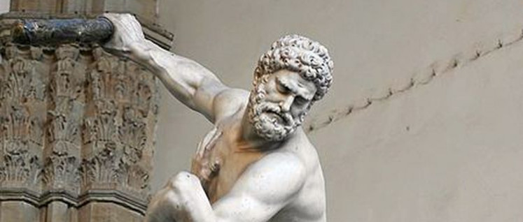 Herakles kämpft gegen den Kentauren Nessus (Foto: [url=https://de.wikipedia.org/wiki/Datei:Herakles_Nessos_Loggia_dei_Lanzi_2005_09_13.jpg]Jastrow[/url])