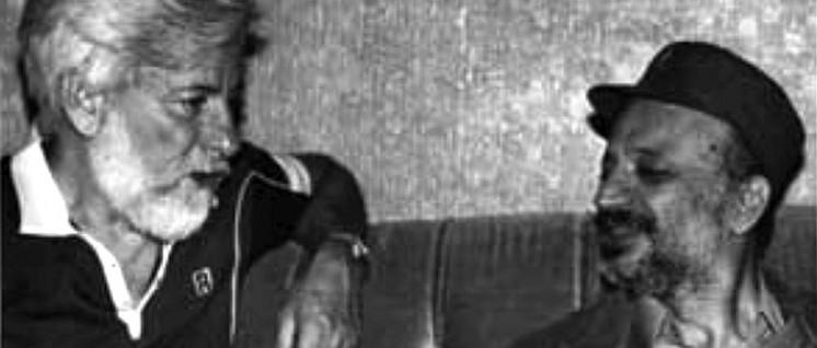 Beirut 1982: Uri Avnery und Jassir Arafat (Foto: Uri Avnery / wikimedia / CC BY-SA 4.0)