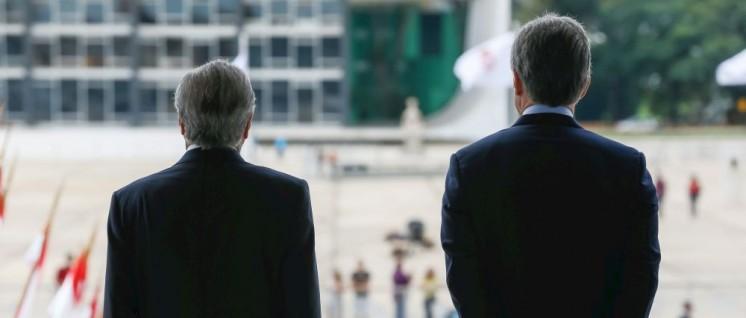 Rechte von hinten: Besuch des argentinischen Präsidenten Maurício Macri beim brasilianischen Amtskollegen Michel Temer (7.Februar 2017). (Foto: [url=https://www.flickr.com/photos/micheltemer/34132997624/in/album-72157684427697305/] Michel Temer/flickr.com[/url])