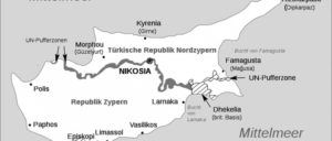 Geteiltes Zypern (Foto: [url=https://de.wikipedia.org/wiki/Zypern#/media/File:Zypernkonflikt.svg]Karte: Bastianow/wikimedia[/url])