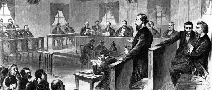 Wilhelm Liebknecht (in der Mitte im Zeugenstand stehend), August Bebel (1. v. r.) und Adolf Hepner (2. v. r.) als Angeklagte beim Leipziger Hochverratsprozess.