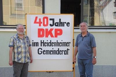 Der Kreisvorsitzende der DKP Heidenheim, Wilhelm Benz (links) und DKP-Stadtrat Reinhard Püschel.