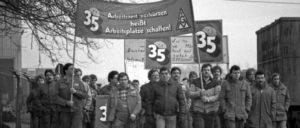 Im Jahr 1984 begann der Kampf der IG Metall für die 35-Stunden-Woche. Nach sieben Wochen Streik und Aussperrung wurde der Einstieg in die 35-Stunden-Woche geschafft. (Foto: Klaus Rose)