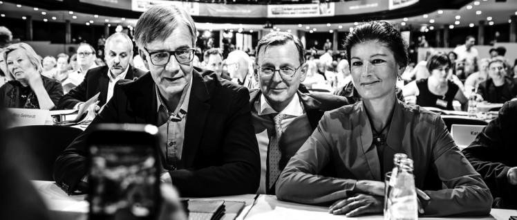 """Personal im Mittelpunkt: Dietmar Bartsch, Bodo Ramelow, Sahra Wagenknecht. (Foto: Partei """"Die Linke"""")"""