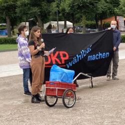 Protestaktion gegen das kalte Verbot der DKP