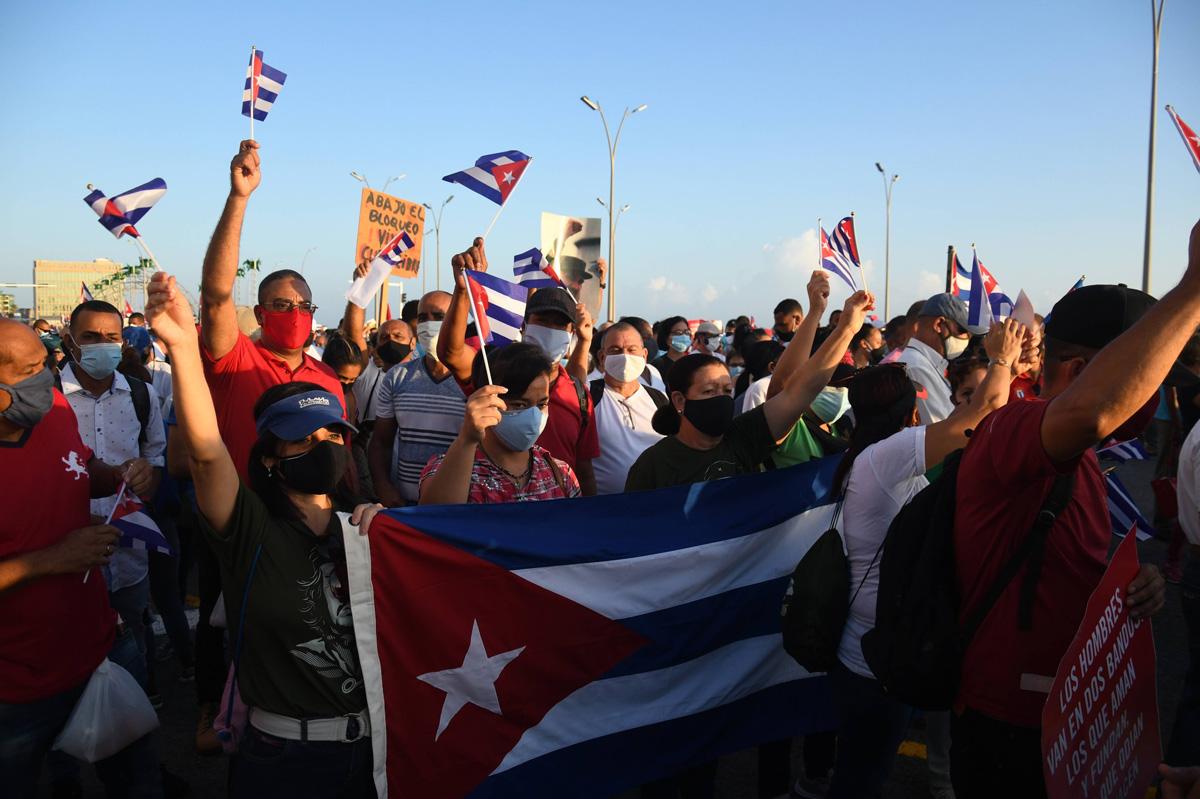 Demonstration für das sozialistische Kuba